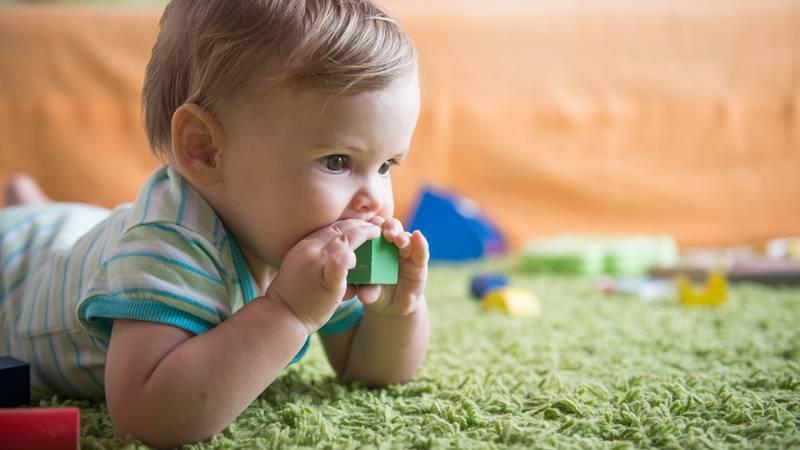 Baby stopt speelgoed in zijn mond